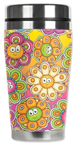 Mugzie® Brand 16-Ounce Travel Mug With Insulated Wetsuit Cover - Groovy Daisies