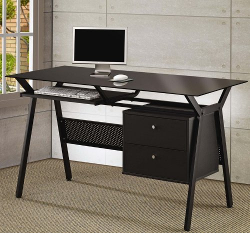 Computer Desk with Black Glass Top in Black Powder Coated Metal