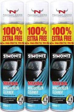 Mixra Windscreen Cleaner SIM-34-3 250ml Plus 100% EXTRA FREE - 3Pk