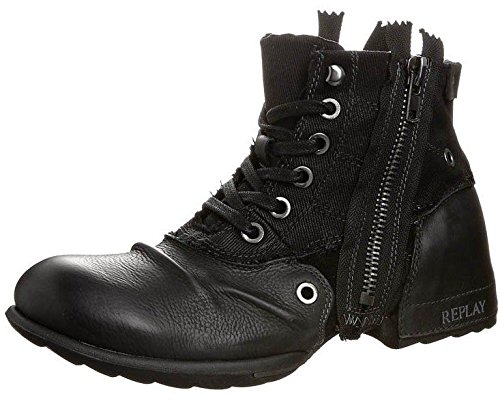 Replay Clutch Black Mens Side Zip Mid Ankle Leather Army Boots Shoes-11 thumbnail