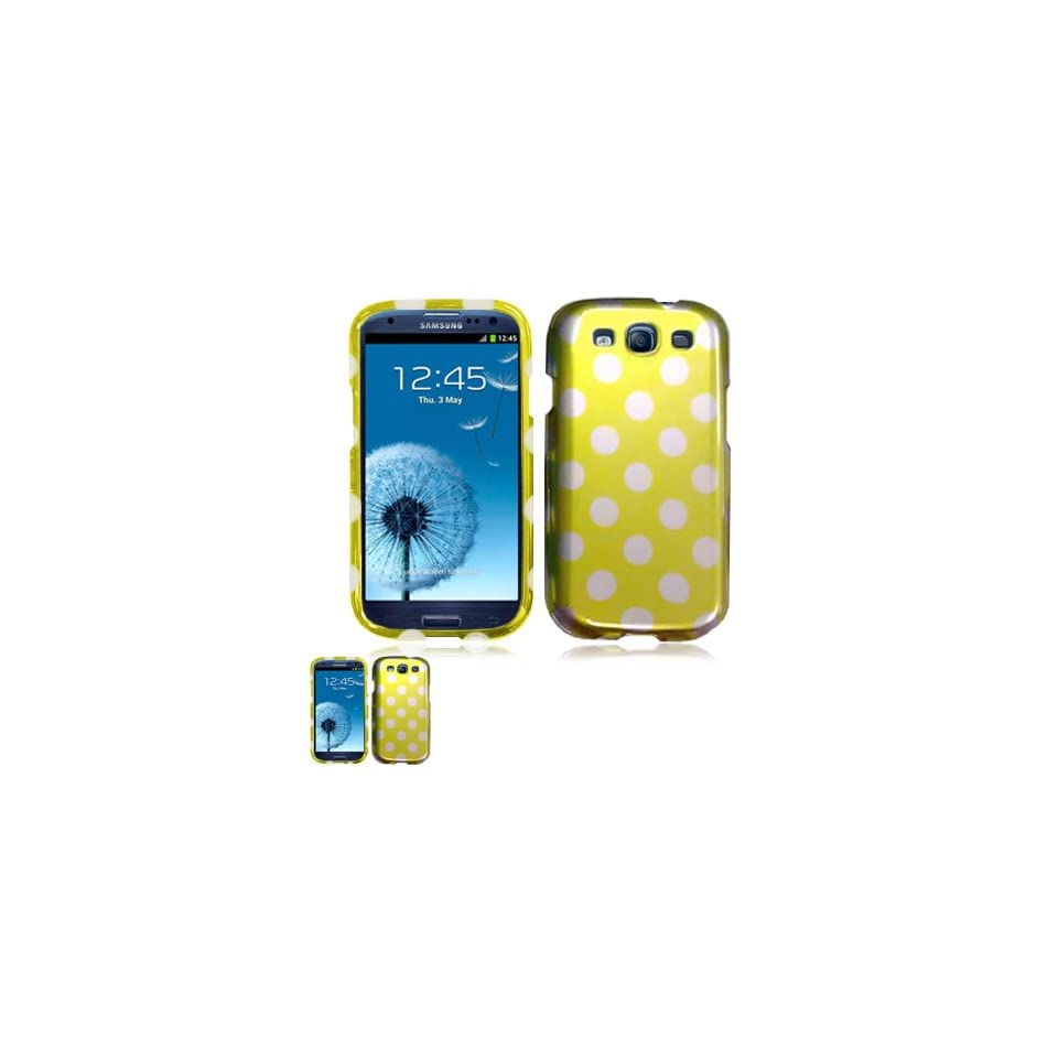 Samsung Galaxy S III I9300 Yellow Polka Dots Design Snap On Case + Free 3D Screen Protector Cell Phones & Accessories