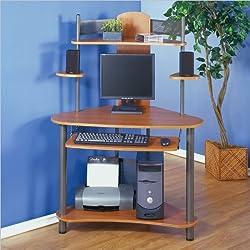 Studio RTA Eagle Compact Corner Wood Computer Desk in Pewter and Teak
