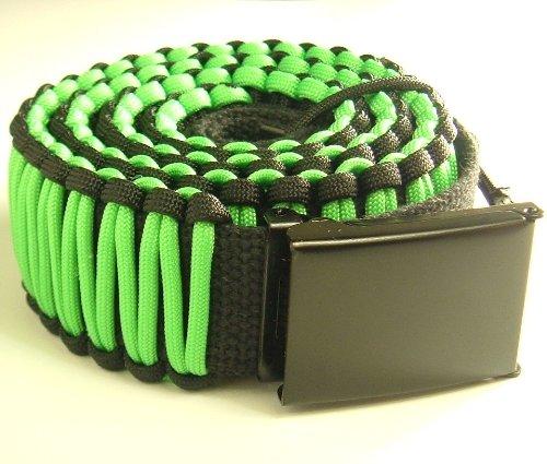 "1 3/4"" Paracord Survival Belt(45Ft+ Cord)-Adjustable Flip-Top Buckle-6 Colors-3 Sizes-Reversable-Unisex- (Neon Green & Black With Black Buckle, Medium/Waist Size 32""-40"")"