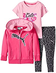 PUMA Baby-Girls Twofer and Zip Hoodie with Leopard Pant Set, Pink Glow, 12 Months
