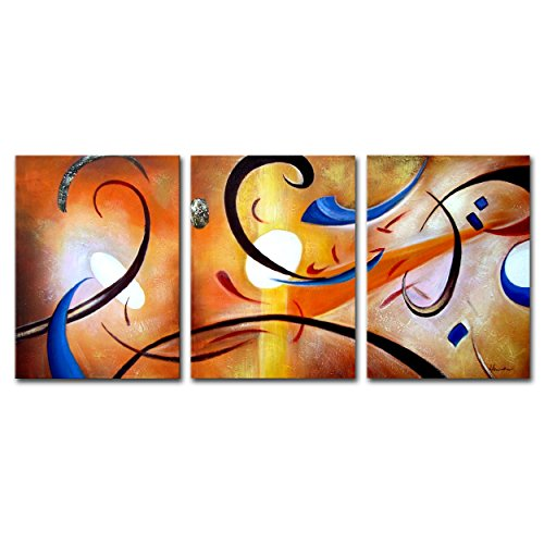 FLY SPRAY 3-Piece 100% Hand-Painted Oil Paintings Panels Stretched Framed Ready Hang Colorful Lines Circle Modern Abstract Canvas Living Room Bedroom Office Wall Art Home Decoration