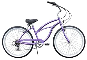 Women's Urban Lady 7 Speed Beach Cruiser Bike Color: Purple