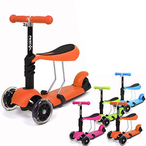 Fascol - 3 à 1 Trotinette 3 Roues Scooter Vélo Porteur pour Enfant 1-9 ans Clignotant Roue + Genouillère Protecteur - Orange