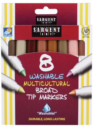 Sargent Art 22-1510 8-Count Color of My Friends Washable Broad Conical Tip Markers - 1