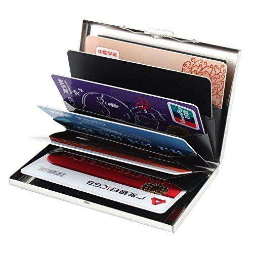 Kinzd® 薄型カードケース RFIDブロックステンレスカードケース 6枚収納タイプ 持ち運びに便利 男女兼用