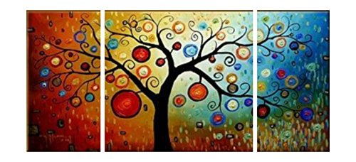 Cherish Art Hand Painted Oil Paintings Trees With Colorful Fruits 3 Panels Wood Framed Inside For Living Room Art Work Home Decoration