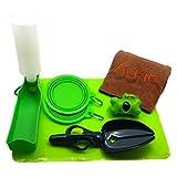 Alfie Pet by Petoga Couture - Elva Pet Adventure Set with Travel Bowls, Microfiber Fast-Dry Towel, Water Bottle, Waste Bag Dispenser, Waste Pickup Scoop, Place Mat - Color: Green