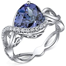 buy 4.00 Carats Simulated Alexandrite Ring Sterling Silver Heart Shape Swirl Design Size 5