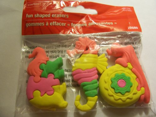 Staples Animal Puzzle Erasers ~ Set of 3 (Elephant, Seahorse, Snail)