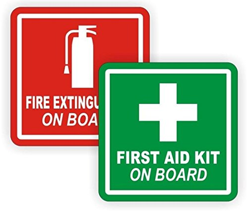 2 Pcs First-Rate Modern Fire Extinguisher First Aid Car Sticker Kit On Board Truck Emblem Camper Badge Size 2