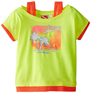 PUMA Girls 2-6X Tropical Twofer Tee, Safety Yellow, 4