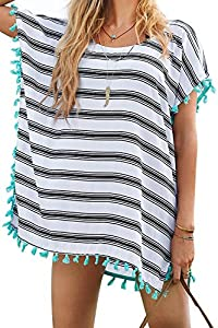 Women's Cover-Up Stripes Macrame Chiffon Beachwear
