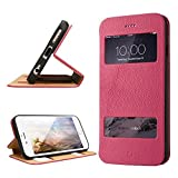 iPhone 6S Plus leather Case, LBT Genuine Leather Stand Case Magnetic Smart Cover with Windows View for Apple iPhone 6s Plus/ 6 Plus Compatible with IOS8 - 100% Handmade Folio Case Flip Phone Holder Protective Cover in Rose LBT-I6L-07L33