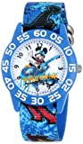 Disney Kids W001178 Interchangeable Strap Mickey Mouse Plastic Stretch Nylon Watch Set