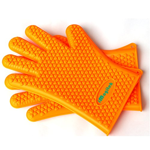 [Upgraded Resistant] iMagitek Oven Gloves, Silicone BBQ Grill Heat Resistant Gloves and Barbecue Gloves (Silicone Oven Gloves Small compare prices)