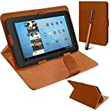 Connect Zone® Universal PU Leather Stand Case Cover For Various Android Tablet PC + Tall Touch Screen Stylus (Brown)