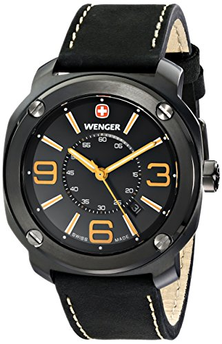 wenger 011051106 - Reloj de pulsera hombre, piel, color negro