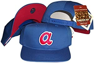 Atlanta Braves Blue Snapback Adjustable Plastic Snap Back Hat Cap by