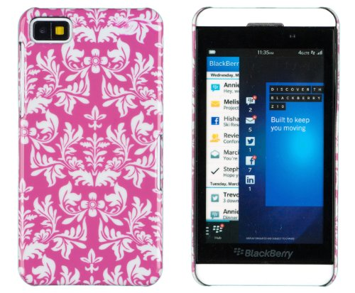 Hot Pink Floral Print Hard Case For Blackberry Z10 + Dandycase Keychain Screen Cleaner [Retail Packaging By Dandycase]