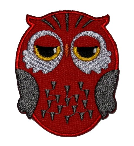 Cute Red Owl Cartoon Diy Applique Embroidered Sew Iron On Patch Ow-004 front-1004967