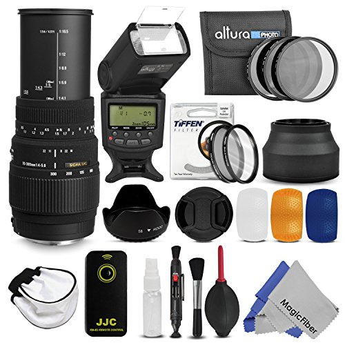 Sigma 70-300Mm F/4-5.6 Dg Macro Telephoto Zoom Lens + 58Mm Complete Accessory Kit For Nikon Dslr Cameras - Includes: Sigma 70-300Mm Telephoto Zoom Lens + Altura Photo Ttl Auto-Focus Digital Flash + Altura Photo Nd Filter Set (Nd2, Nd4, Nd8) + Tiffen Uv An