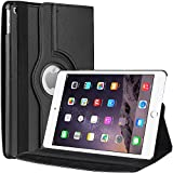 iPad Air 2 Case, EnGive 360 Degree Rotating Folio Smart PU Leather Cover Case for iPad Air 2 with Auto Wake/Sleep Function (Black)