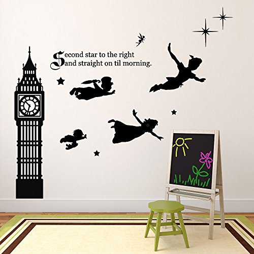 Peter Pan Wall Decal Vinyl Art Stickers for Kids Room, Playroom, Boys Room, Girls Room - Characters include Tinkerbell, Wendy, John, and Michael Flying to Neverland (Alice Window Decal compare prices)
