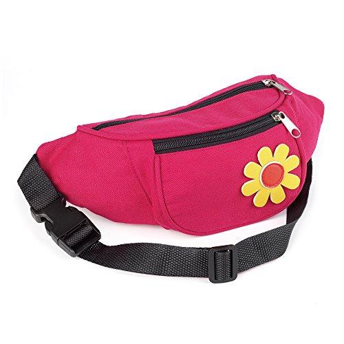 Flower Motif Pink Hippy 60s Waist Pouch