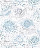 Fine Decor Jardin Wallpaper FD40642 Rose Flower Floral Calligraphy Blue Silver
