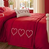 Catherine Lansfield Decorative Hearts Bed Runner 50 x 200 cm - Red