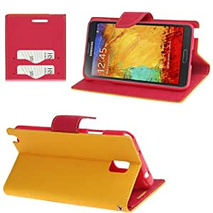 Cross Texture Leather Case with Credit Card Slots & Holder for Samsung Galaxy Note 3 N9000 in Yellow