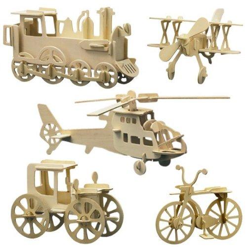 Holz Bausatz 5er Set Technik Lokomotive, Fahrrad, Hubschrauber, Doppeldecker, Oldtimer Steckbausatz f. Kinder Holzbausatz