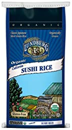 Lundberg Organic Sushi Short Grain White Rice, 25-Pound