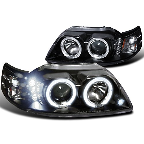 Spec-D Tuning 2LHP-MST99JM-TM Ford Mustang Led Halo Black Projector Head Lights (Mustang Cobra Headlights compare prices)