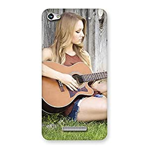 Gorgeous Girl Guitar Back Case Cover for Micromax Hue 2