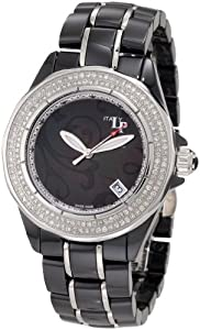 Lucien Piccard Women's 27120BK Celano Mid Size Automatic Diamond Accented Black Paisley Mother-Of-Pearl Dial Black Ceramic Watch