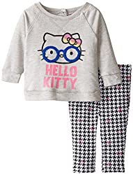 Hello Kitty Baby-Girls Newborn Screen Print Top with Houndstooth Leggings, Heather Gray, 6-9 Months