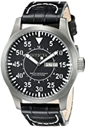 Invicta Men's 11200 Specialty Black Dial Black Leather Watch