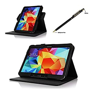 ProCase Samsung Galaxy Tab 4 (10 inch) Dual View Case (horizontal and vertical display) - Rotating Stand Folio Cover Case for Galaxy Tab 4 10.1 (2014 released) with auto Sleep/Wake, and bonus Stylus Pen, also compatible with Galaxy Tab 3 10.1 (Black) from
