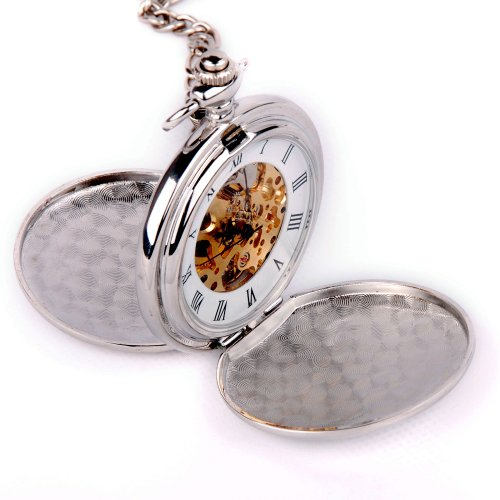 Skeleton Pocket Watch Mechanical Movement Hand Wind Roman Numerals Full Hunter Silver Tone Classic Engravable – PW20