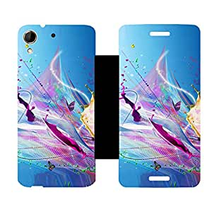 Skintice Designer Flip Cover with hi-res printed Vinyl sticker wrap-around for HTC Desire 728G