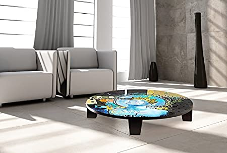 "TAF DECOR ""King of Swords"" Art Coffee Table, 35"" X 35"" X 7.5"", Multicolored"