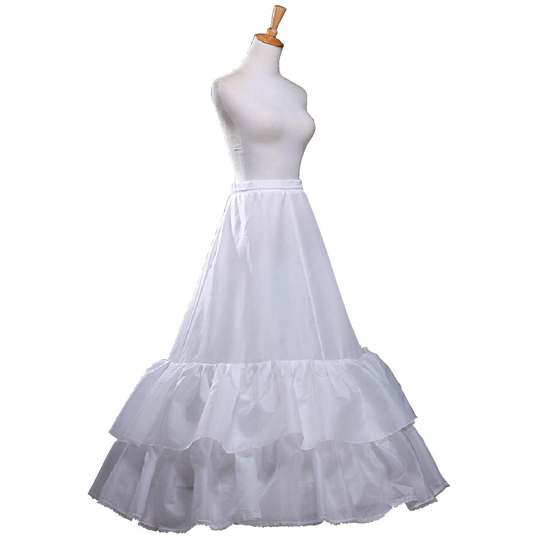 Fashion Plaza Unterrock Krinoline 2 Schichten Rüschen A-linie Braut Petticoat A0008