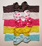 A Girl Company Set of 5 Stretchy Lace Headbands with attached Hair Bow