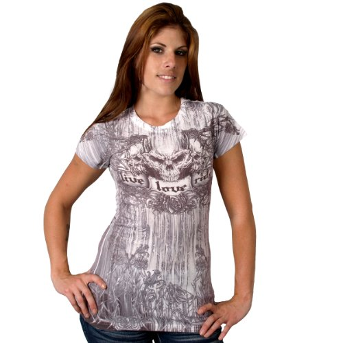 Hot Leathers Banner Roses Ladies Sublimation T-Shirt (Multi, Large)