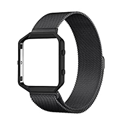 Fitbit Blaze Accessories Band Large, UMTele Rugged Metal Frame Housing with Magnet Lock Milanese Loop Stainless Steel Bracelet Strap Band for Fitbit Blaze Smart Fitness Watch Black (6.1\